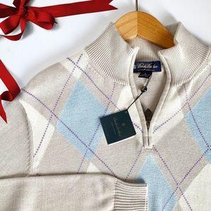 Argyle Zip Sweater